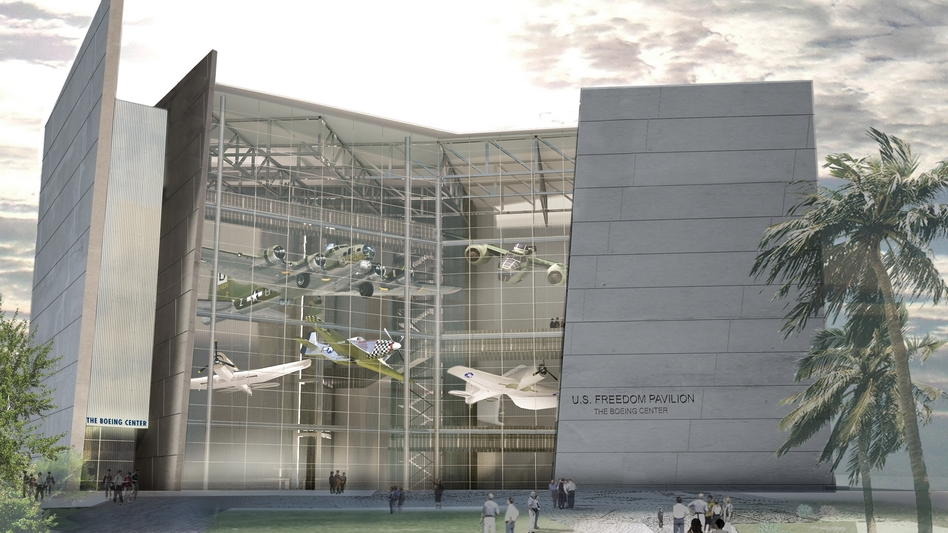 The museum's U.S. Freedom Pavilion, seen here as a digital model, opened to the public on Friday. (Courtesy The National WWII Museum)