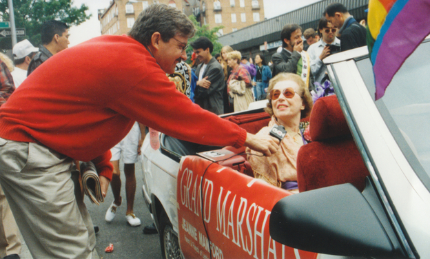 Journalist Andy Humm interviews Manford at a gay pride march in Queens in 1993.