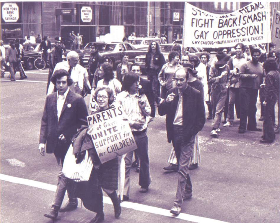 Manford marches with Morty in what would become New York City's gay pride march, in 1972. (PFLAG National)
