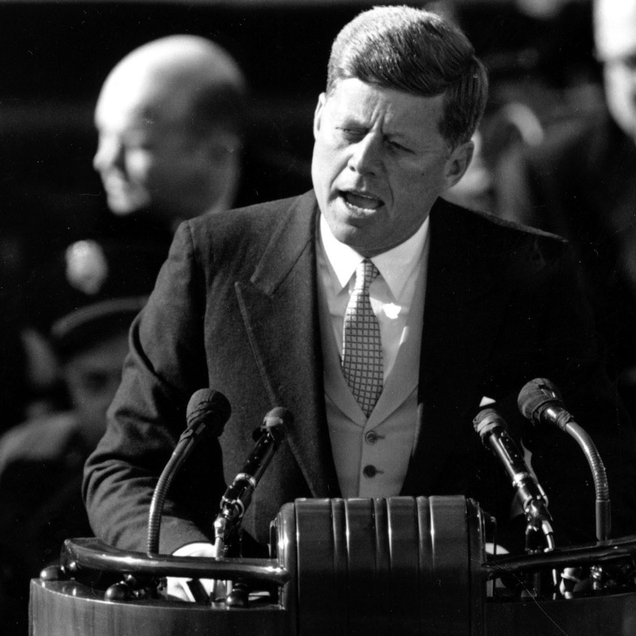 President John F. Kennedy delivers his inaugural address after taking the oath of office on Jan. 20, 1961.