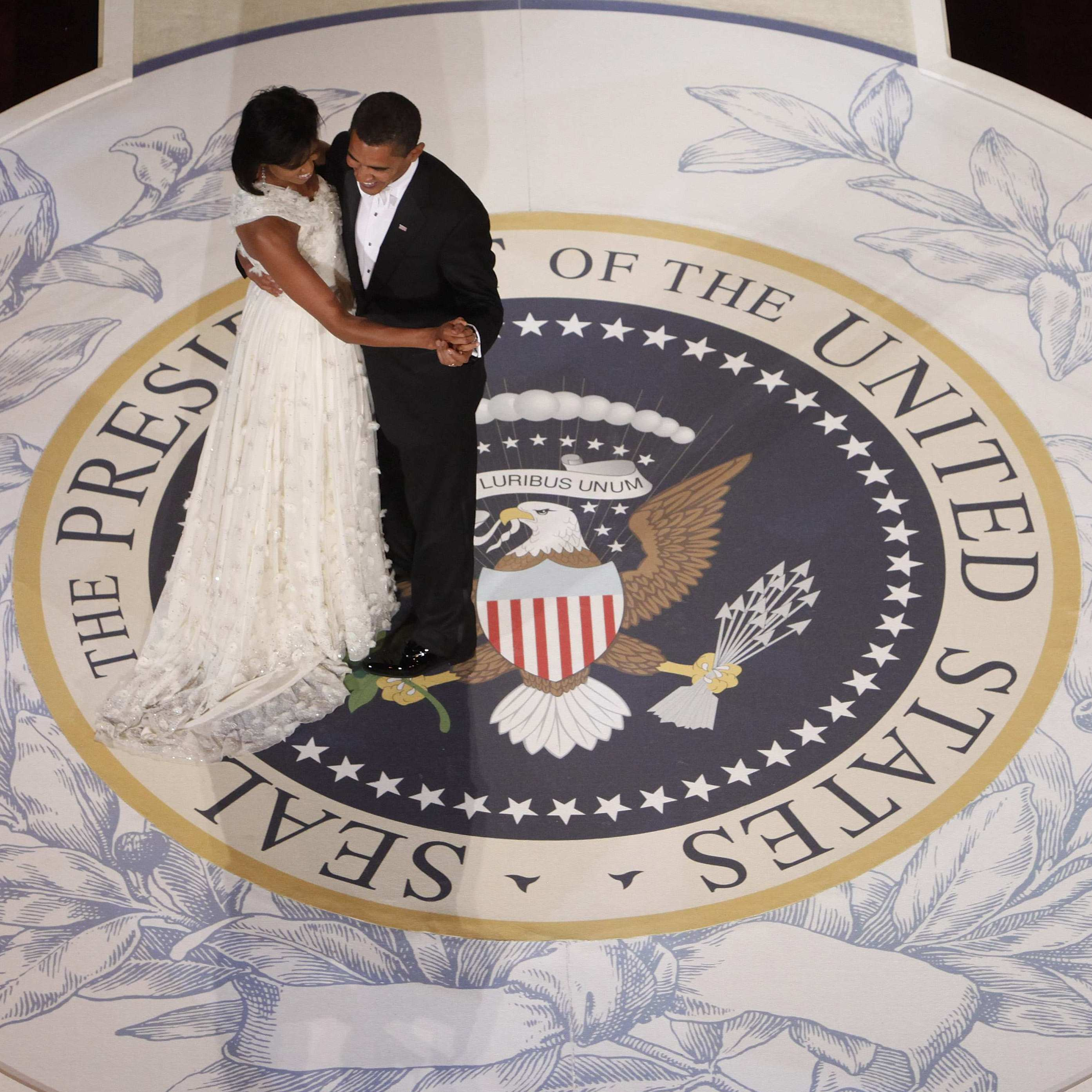 President Obama dances with first lady Michelle Obama on the night of his first inauguration, Jan. 20, 2009, in Washington.