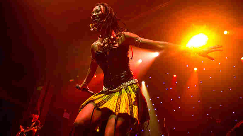 One of Fatoumata Diawara's backup singers and dancers, performing live at globalFEST 2013.