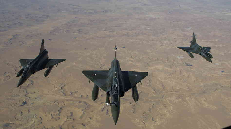 This photo, released on Saturday by the French Army Communications Audiovisual office (ECPAD), shows French Mirage 2000 D jets flying