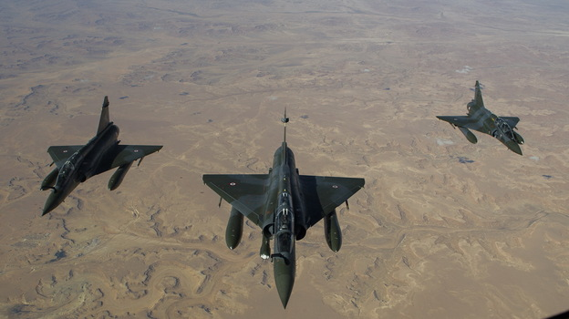 This photo, released on Saturday by the French Army Communications Audiovisual office (ECPAD), shows French Mirage 2000 D jets flying over Mali. (Xinhua /Landov)