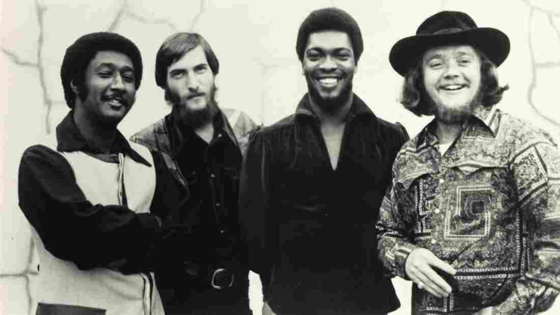 Today's World Cafe features interviews with Steve Cropper (second from left) and Booker T. Jones (third from left), both part of the Stax Records house band.