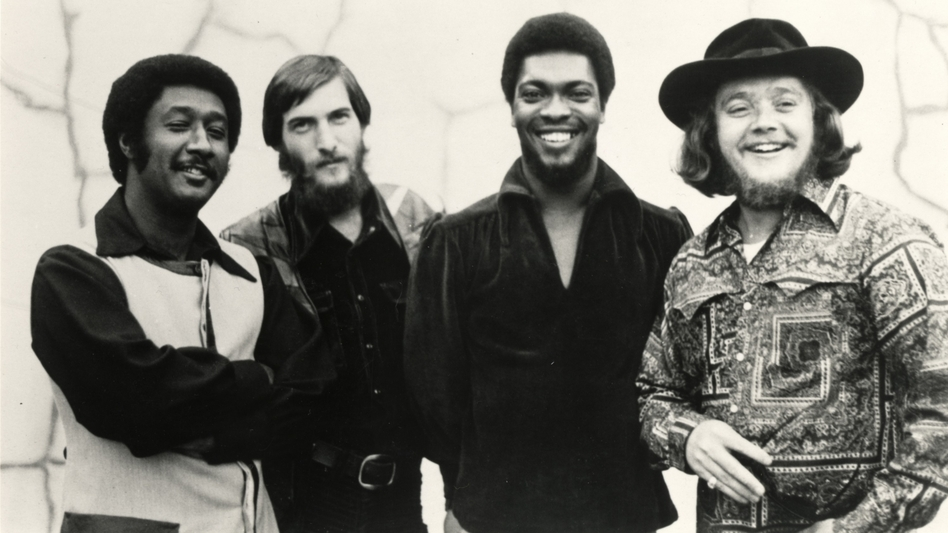 Today's <em>World Cafe</em> features interviews with Steve Cropper (second from left) and Booker T. Jones (third from left), both part of the Stax Records house band.