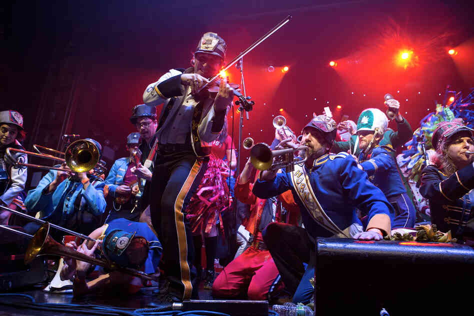 While Mucca Pazza are an American band, their sound is a madcap journey across the globe. The group's setlist was as colorful as its uniforms, varying from traditional Balkan Brass selections to covers of television show theme songs.