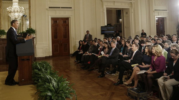 President Obama holds a news conference Monday in the East Room of the White House. (AP)