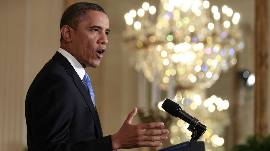 President Obama speaks during his news conference in the East Room of the White House on Monday. (Reuters/Landov)