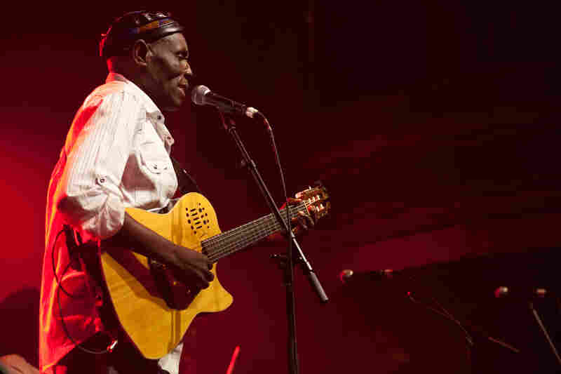 """Oliver Mtukudzi's sound of Afro-pop is well known as """"Tuku music.""""  He's released more than 60 albums. He was accompanied at his performance this year by his band, The Black Spirits."""
