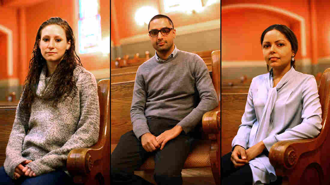 Lizz Reeves (from left), Yusuf Ahmad and Melissa Adelman also participated in the discussion about religion with NPR.