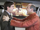 Richard (Mark McKinney) and Sanjay (Colm Feore) get up close and personal in the zany backstage comedy Slings and Arrows.