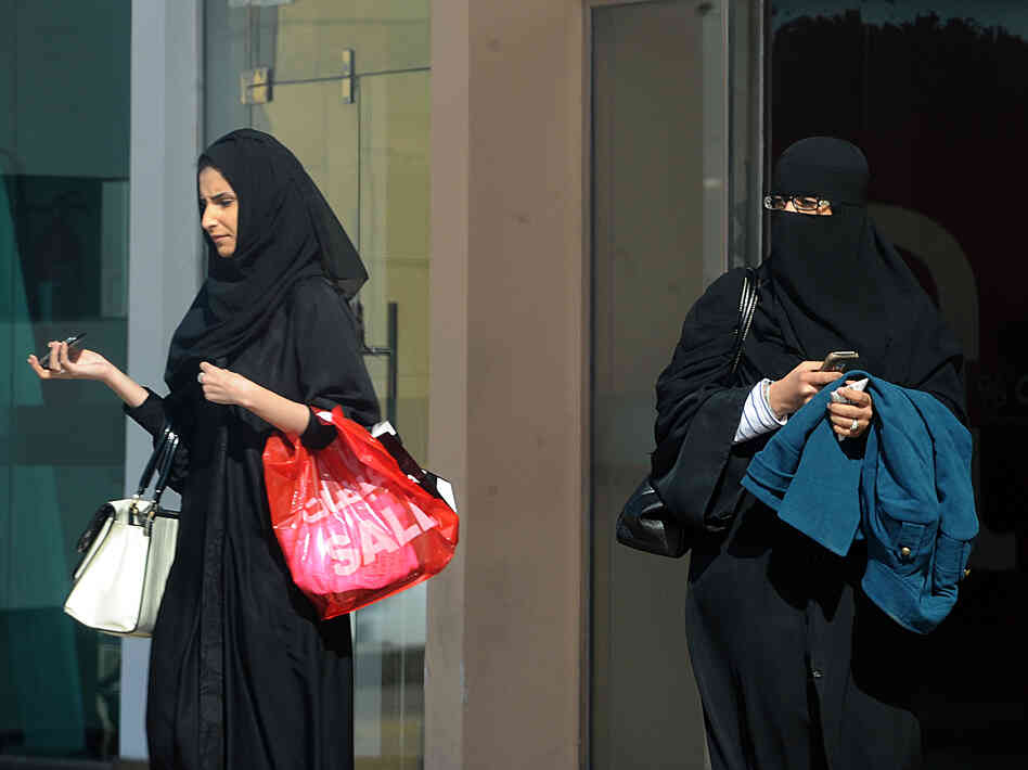 Saudi women leave a shopping mall in the capital, Riyadh, on Saturday