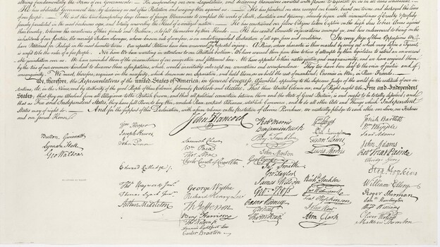 John Hancock's famously large signature is part of our visual heritage, but handwritten signatures are used less and less. (www.archives.gov )