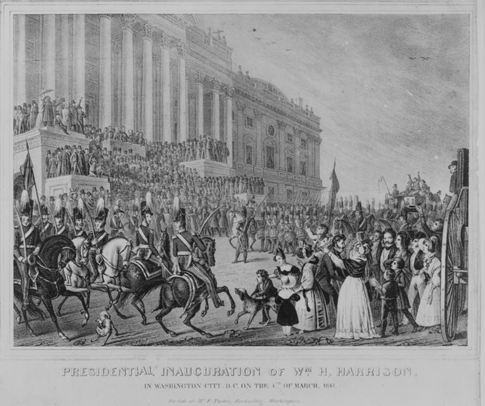 March 4, 1841: William H. Harrison, the first president to arrive in Washington by train, delivered the longest inaugural address in history. He delivered a 90-minute speech in a snowstorm. The 68-year-old died from pneumonia about a month later. (Courtesy of Library of Congress)