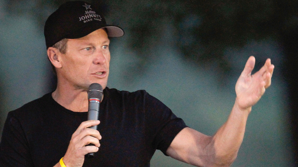 Cyclist Lance Armstrong addresses participants at a Livestrong event in October. (Getty Images)