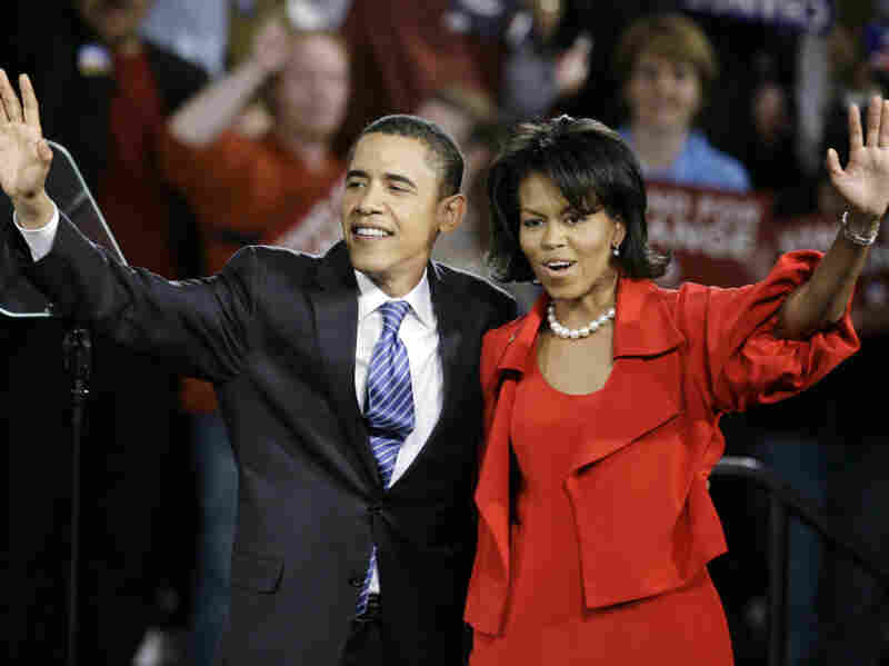 The Obamas wave to a crowd on a campaign stop in 2008. Reporter Jodi Kantor details how they figured out how to maintain their friendships and family life after moving into the White House. Photo: M. Spencer Green/AP