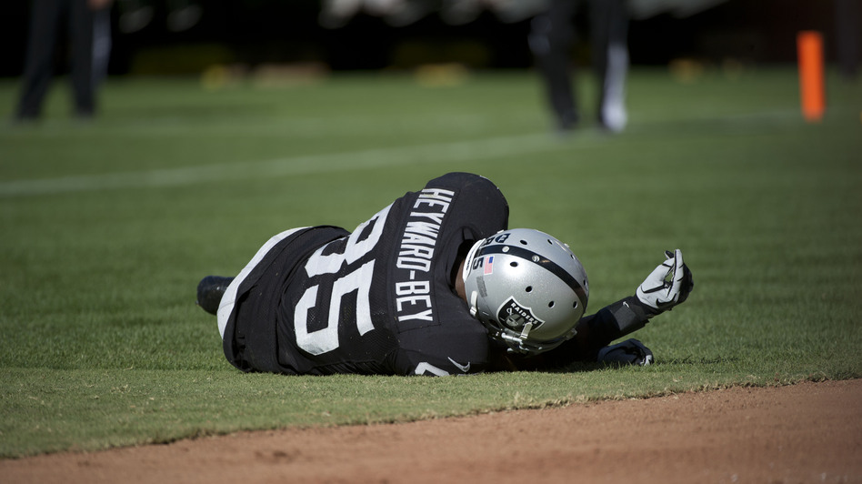 Oakland Raiders wide receiver Darrius Heyward-Bey lies motionless after he was hit while attempting to catch a pass during a Sept. 23, 2012, game against the Pittsburgh Steelers. Heyward-Bey suffered a concussion and neck strain and spent the night in the hospital under observation. (AP)