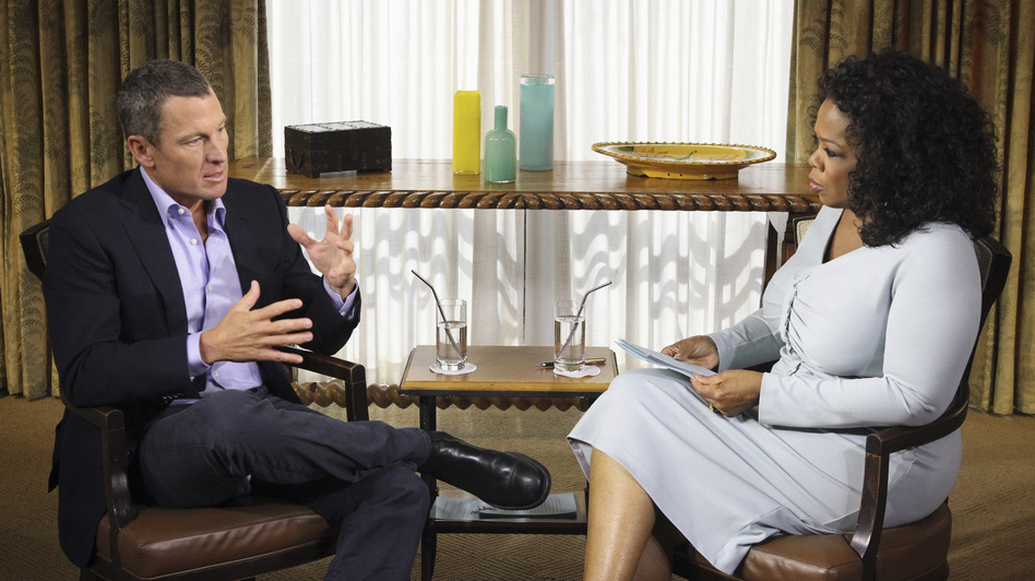 Lance Armstrong speaks with Oprah Winfrey during taping for the show <em>Oprah and Lance Armstrong: The Worldwide Exclusive</em> in Austin, Texas, on Monday. The interview airs Thursday and Friday on the Oprah Winfrey Network.