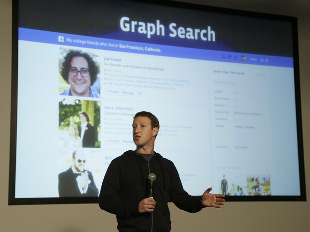 Facebook CEO Mark Zuckerberg speaks at Facebook headquarters in Menlo Park, Calif., on Tuesday.