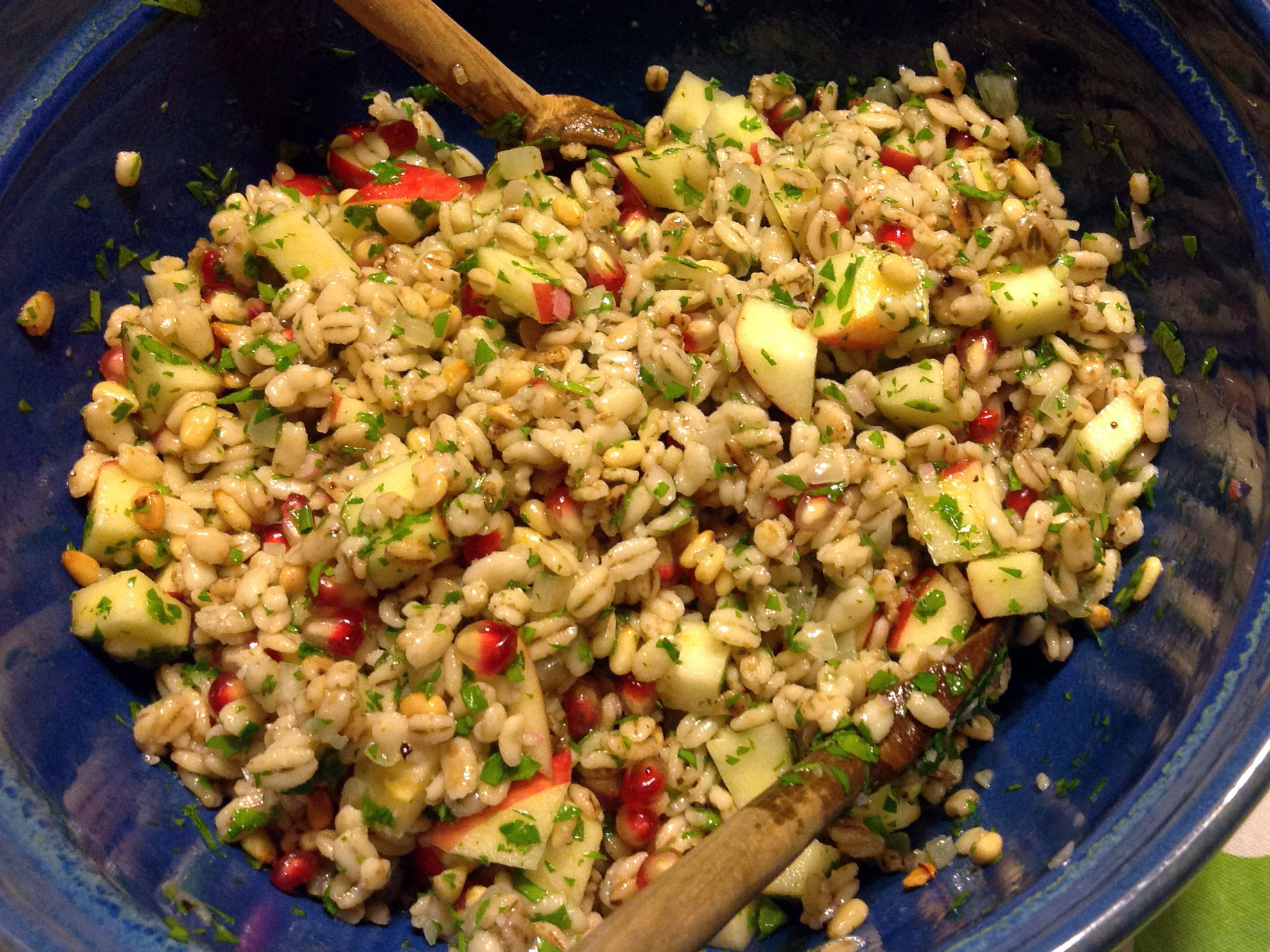 Pearled Barley Salad With Apples, Pomegranate Seeds And Pine Nuts (detail)