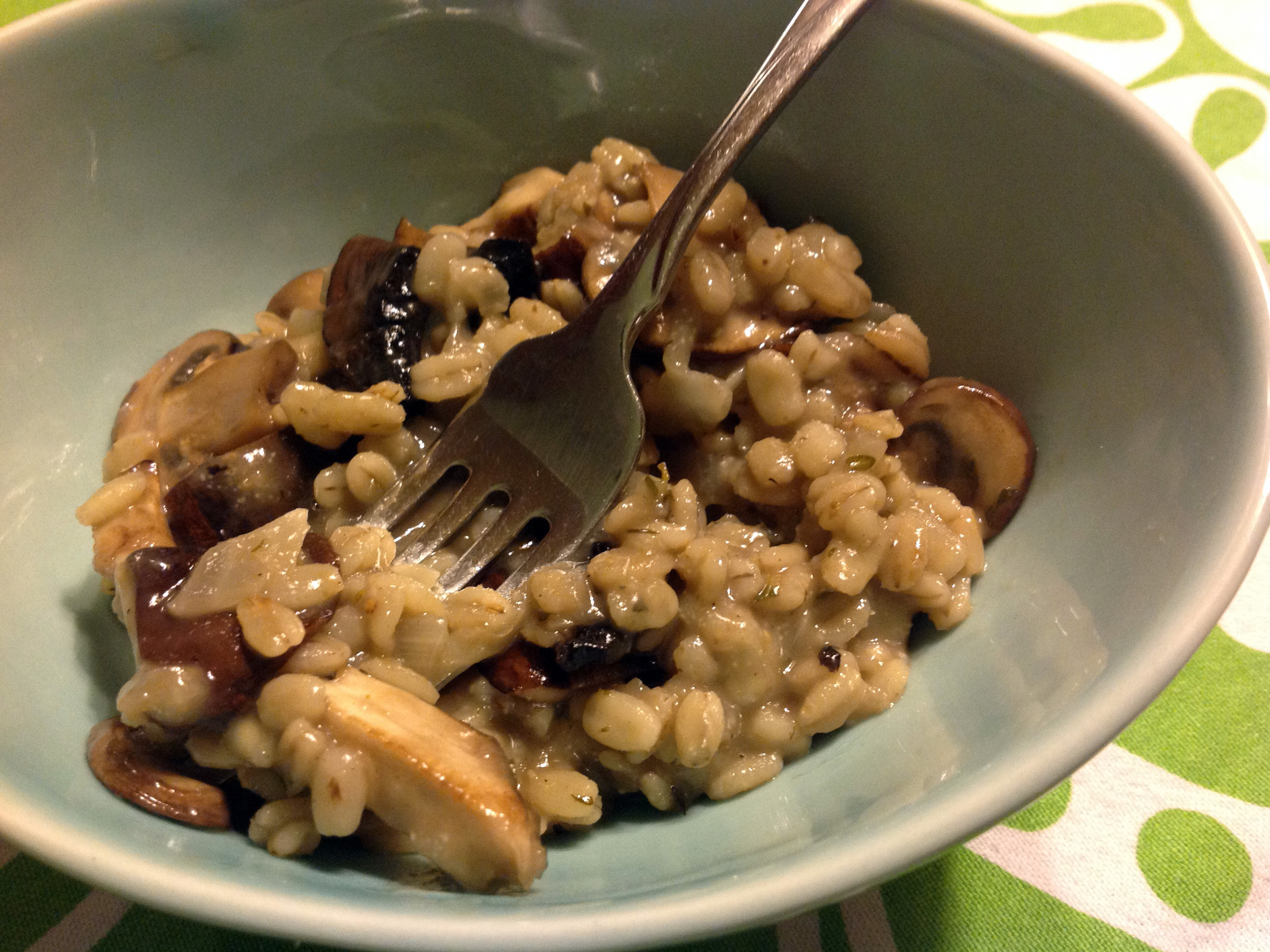 Barley Risotto With Mushrooms, Manchego And Thyme