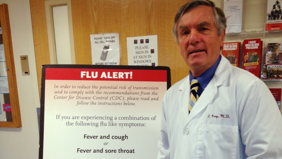 Dr. Tom Nary is the director of health services at Boston College. (Tovia Smith/NPR)