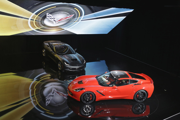 The newly redesigned Corvette Stingray is unveiled by General Motors on Sunday. The Corvette's status as a cultural icon presents challenges for GM as it attempts to the bring the beloved brand into the 21st century.  (AP)
