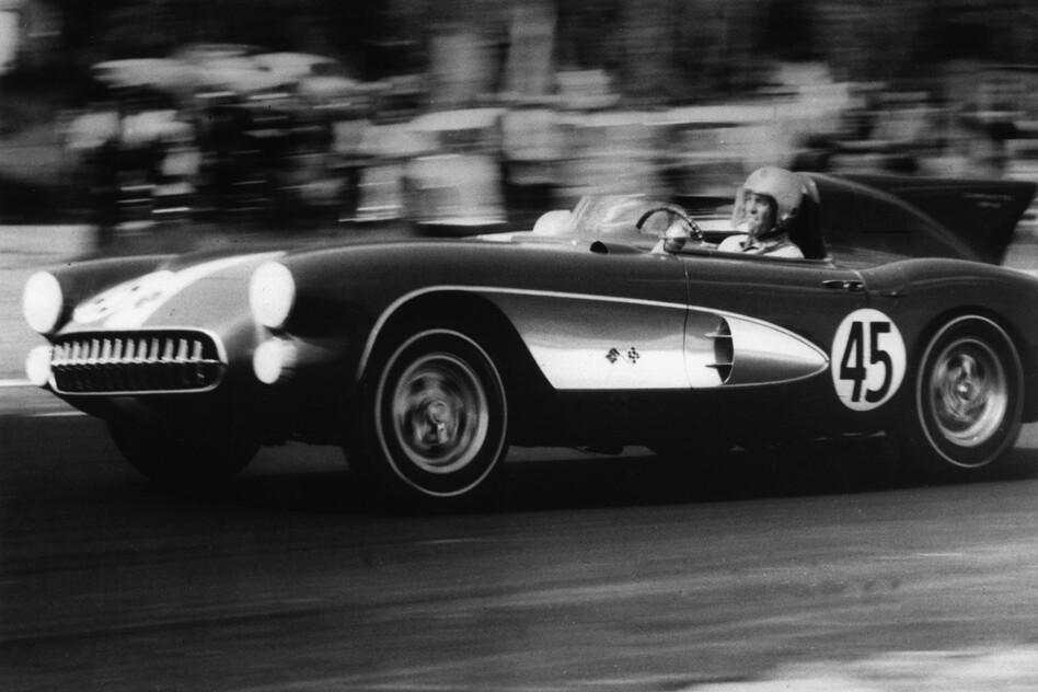 Washington, D.C., dentist Richard K. Thompson races his 1957 Corvette Stingray at a Maryland track on July 31, 1957. The new 2014 Chevy Corvette revives the long-dormant Stingray name. (AP)