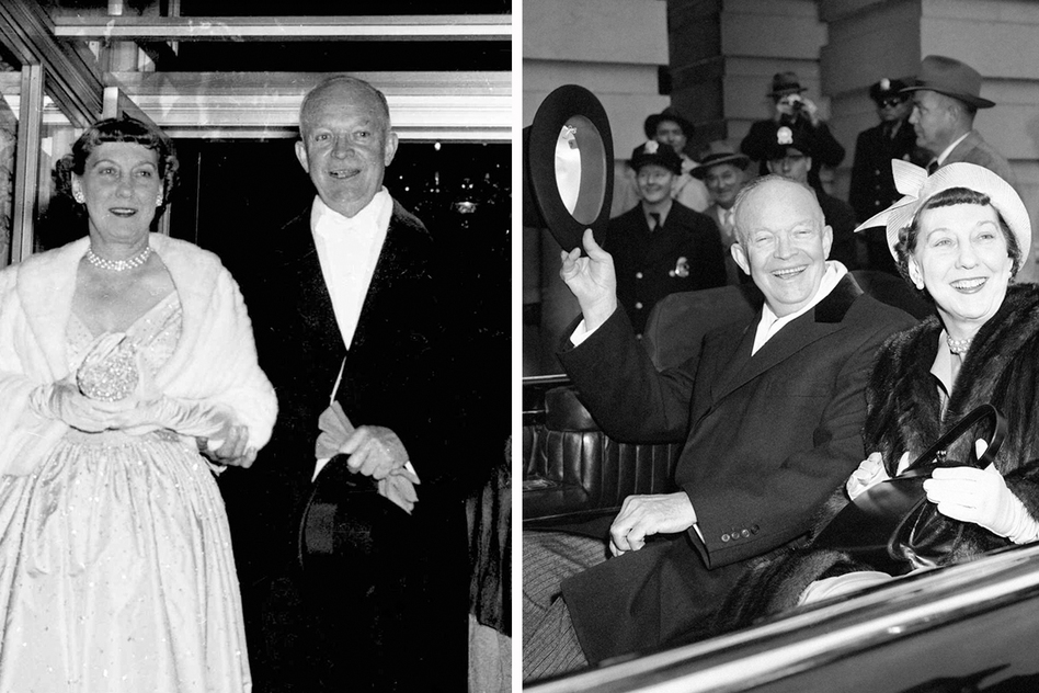 Here's President Dwight Eisenhower and first lady Mamie on Inauguration Day in 1953 (left) and 1957 (right). (NPR)