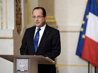 French President Francois Hollande talks about the situation in Mali on Saturday at the presidential palace in Paris. Backed by French air power, Malian troops Friday unleashed an offensive against Islamist rebels.