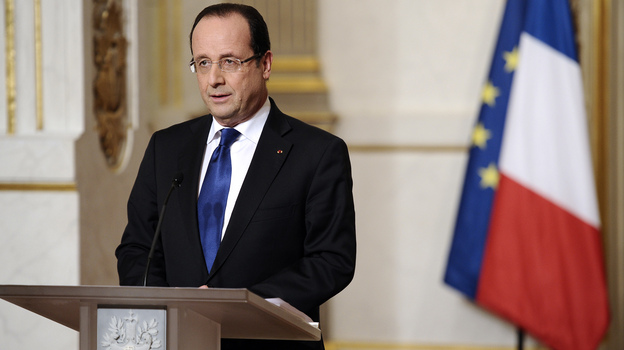 French President Francois Hollande talks about the situation in Mali on Saturday at the presidential palace in Paris. Backed by French air power, Malian troops Friday unleashed an offensive against Islamist rebels. (AP)