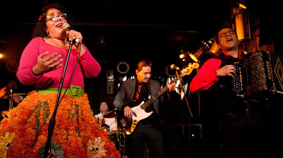 La Santa Cecilia performs during GlobalFest at New York City's Webster Hall on January 13th, 2013.