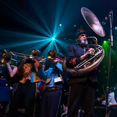 Mucca Pazza performs during GlobalFest at New York City's Webster Hall on January 13th, 2013.