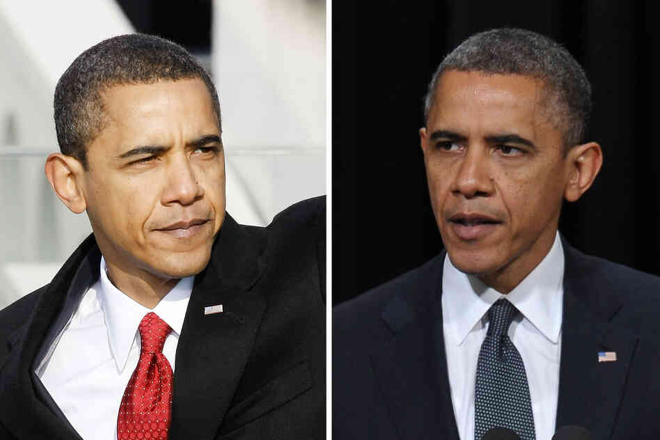 President Obama seems to have picked up a few gray hairs in the