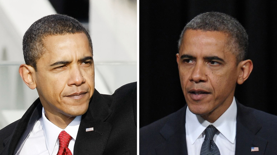 President Obama seems to have picked up a few gray hairs in the four years since he was sworn in on Jan. 20, 2009 (left). On the right, he's shown in December 2012. (NPR)