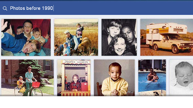 A sample search of Facebook's new Graph Search feature shows users' photographs. The
