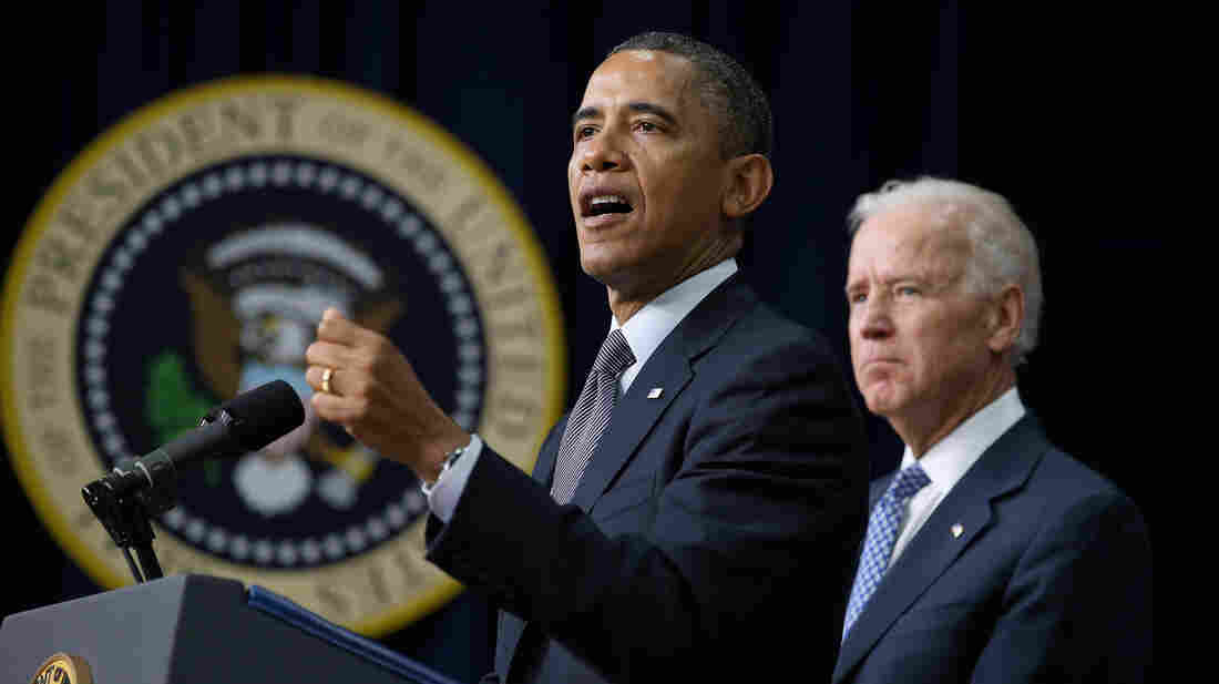 President Obama and Vice President Biden announce the administration's new gun control proposals Wednesday at the Eisenhower Executive Office Building.