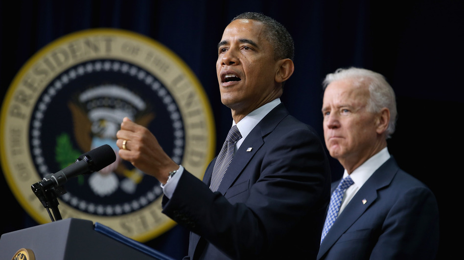 President Obama and Vice President Biden announce the administration's new gun control proposals Wednesday at the Eisenhower Executive Office Building. (Getty Images)