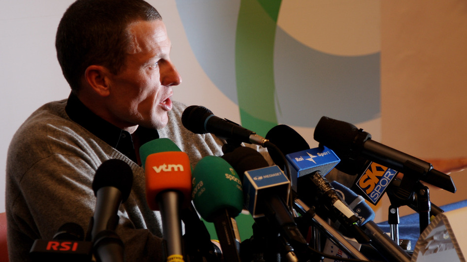 Lance Armstrong speaks at a press conference of the 100th Milan-San Remo Cycle Race on March 20, 2009. (Getty Images)