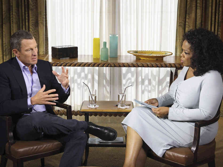 Lance Armstrong talks to Oprah Winfrey on Monday. Winfrey's two-part interview of the former cycling champion airs Thursday and Friday.