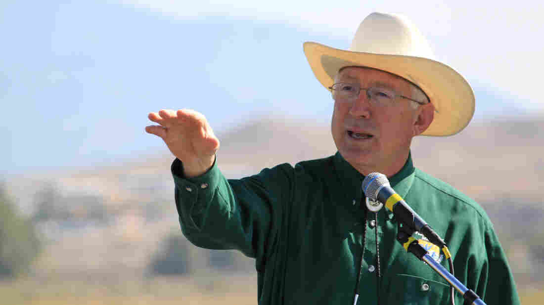 Interior Secretary Ken Salazar speaks at the dedication for the Southwest's first urban wildlife refuge on the southern edge of Albuquerque, N.M., on Sept. 27, 2012. Salazar has announced that he'll leave his post in late March and return to Colorado.