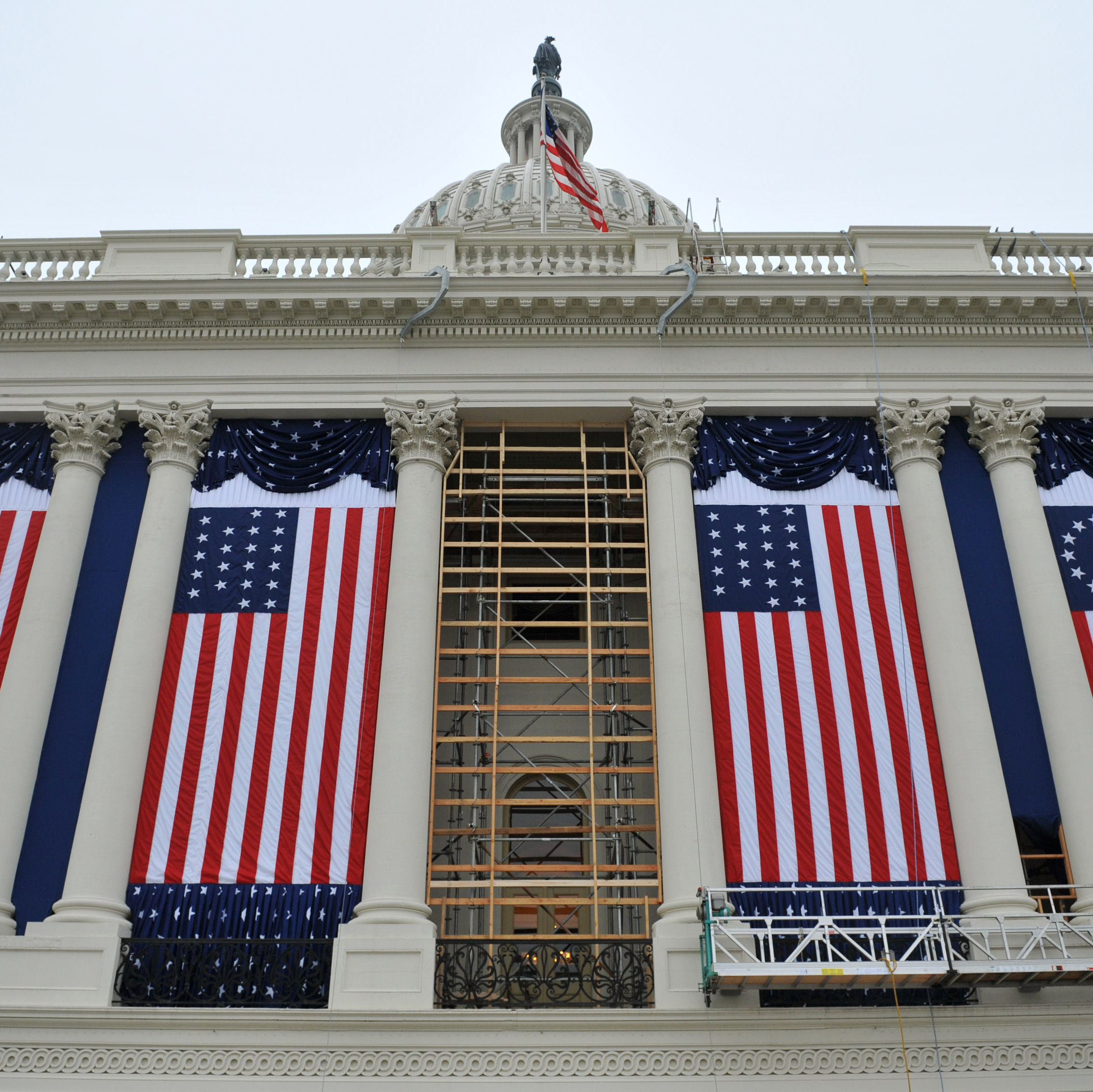 The West Front of the Capitol Building is being prepared for Mondays inauguration.