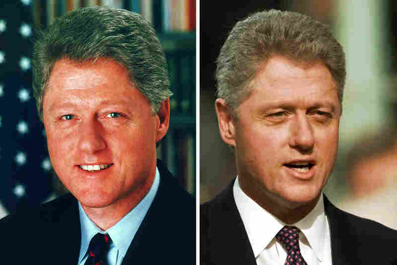 President Bill Clinton's January 1993 official White House photo (left) is stacked up against an image of him being sworn in for a second time on Jan. 20, 1997.