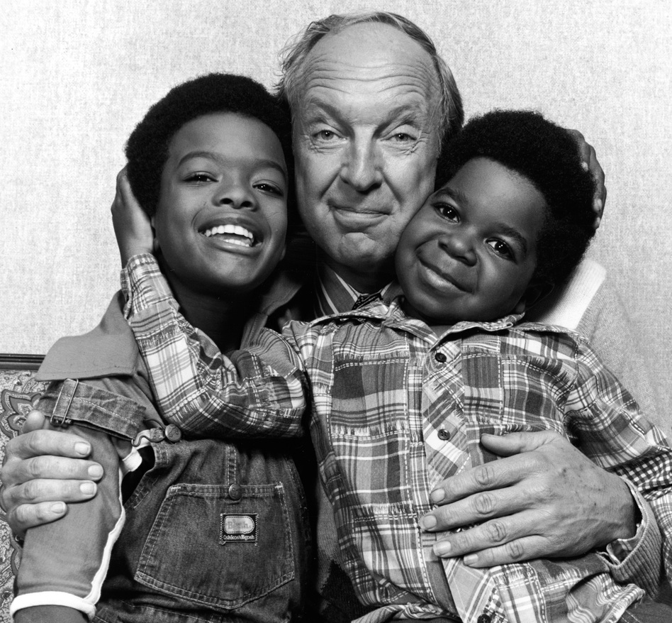 Conrad Bain, with actors Todd Bridges (left) and Gary Coleman (right) in 1978 when they were starring on <em>Diff'rent Strokes</em>.
