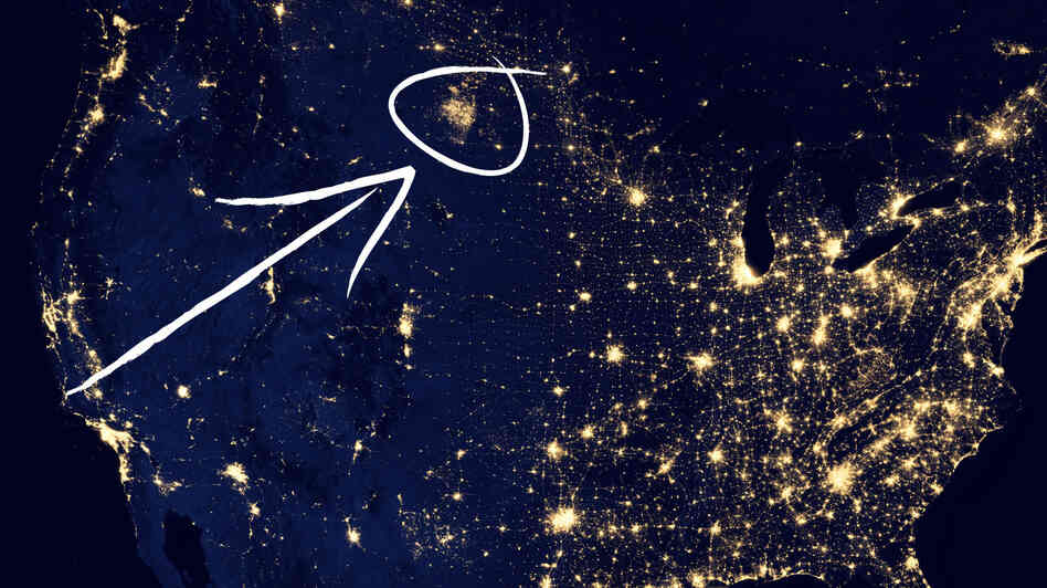 A drilling area in North Dakota can be seen in this nighttime image of the United States.