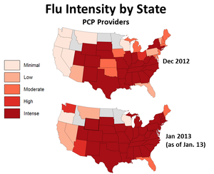Data from primary care physicians show that, in just two weeks, the flu became more intense in several states. (Note: States that did not meet thresholds for data sampling are shown in gray.)