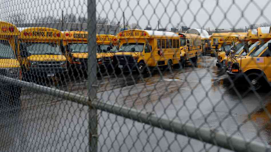 All locked up: School buses sat idle this morning in the Jamaica section of New York City.
