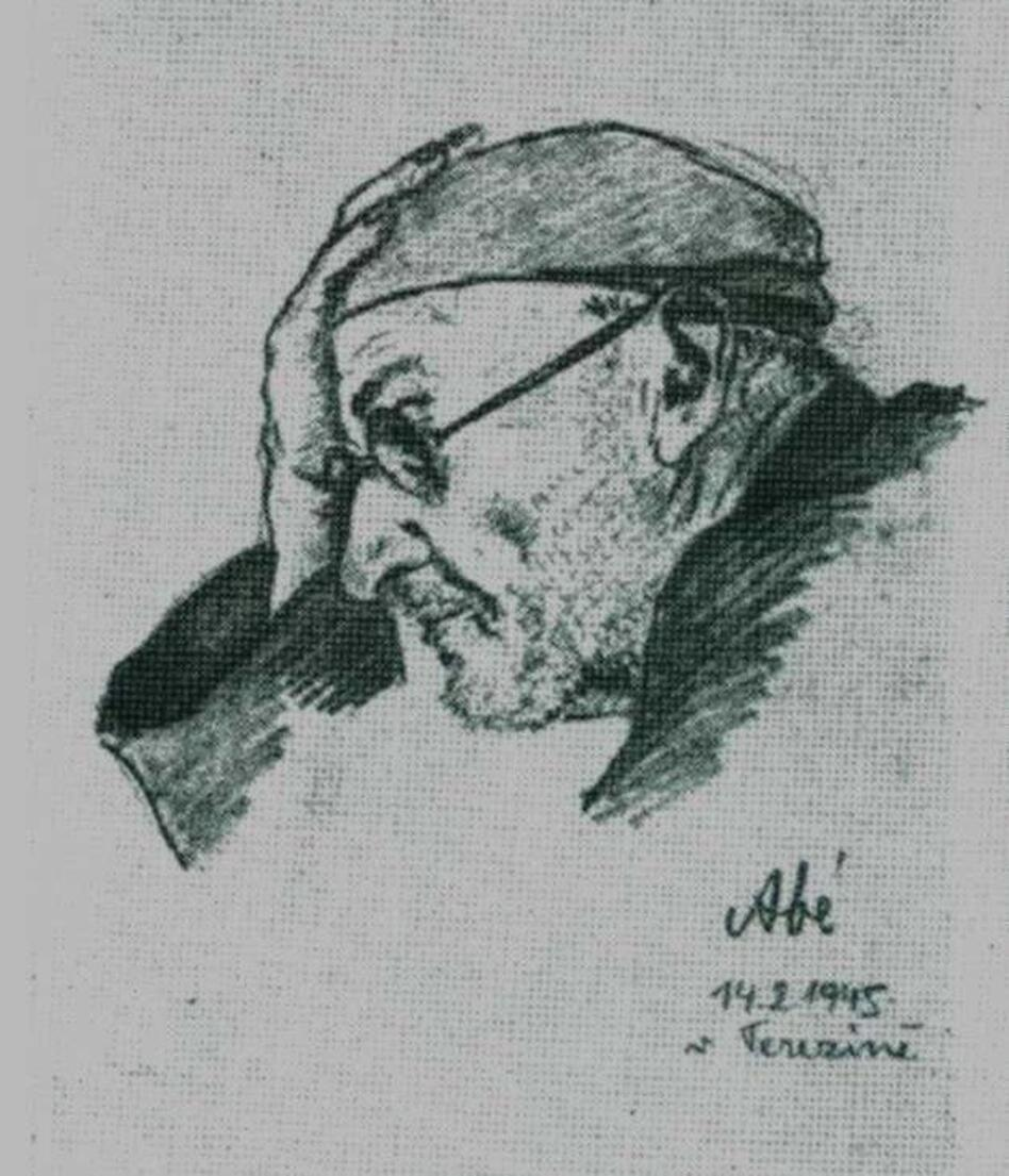 The Nazis imprisoned Czech composer Rudolf Karel (shown here in a sketch from 1945) for helping the resistance in Prague. He wrote his compositions down on toilet paper. (Courtesy of Francesco Lotoro )
