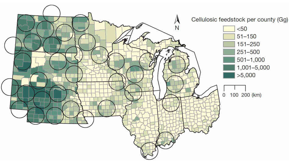 This map shows the potential biomass collection within 10 states. Each circle represents an area of about 7,800 square miles, which could produce about 23 million gallons of ethanol per year. A gigagram, or Gg, is about 1,100 tons.